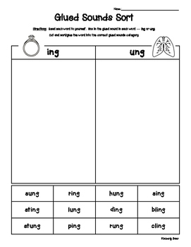 Glued Sounds - ING and UNG Sorting Activity - Spelling Practice Worksheet