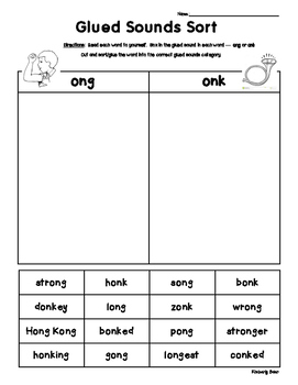 Glued Sounds - ONG and ONK Sorting Activity - Spelling Practice Worksheet
