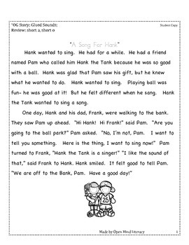 Glued Sounds Reading Passage (Fluency Practice + Running Record Form)
