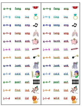 Glued Sounds/ Word Families Study Cards