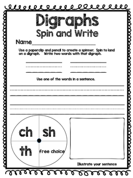 Glued Sounds and Digraphs - Spin and Write!