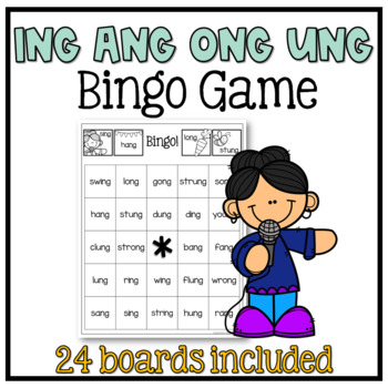 Glued Sounds (ing, ang, ong, ung) Bingo