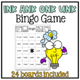 Glued Sounds (ink, ank, onk, unk) Bingo