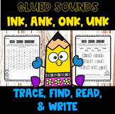 Glued Sounds ink, ank, onk, unk Worksheets