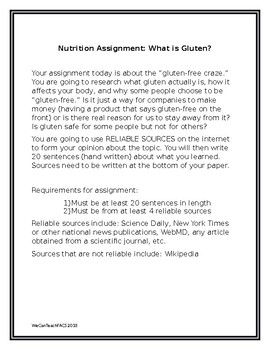 Gluten Free Research Assignment