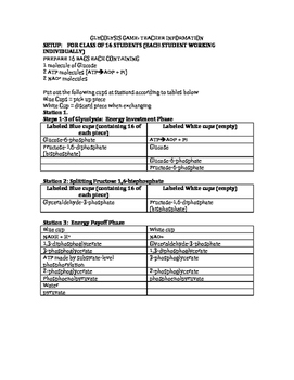 Glycolysis Activity Teacher & Student Sheets
