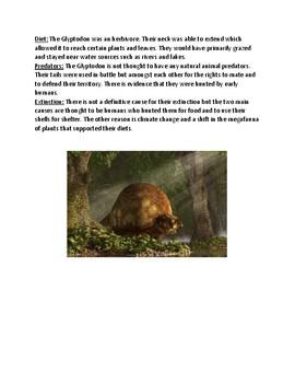 Glyptodon - Extinct Dinosaur Armadillo lesson facts review questions