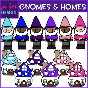 Gnome Clip Art - Rainbow Gnomes and Homes {jen hart Clip Art}