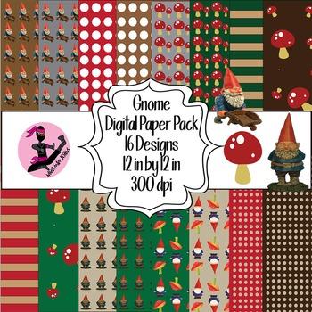 Gnome Digital Paper- 16 Designs- 12 by 12- 300 dpi