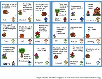 Gnome's Path Home Work/Energy Matching and Task Card Activity Bundle