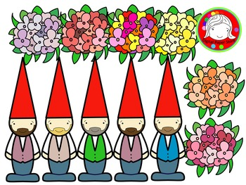 Gnomes & Flowers Clipart (Personal & Commercial Use)