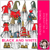 Gnomes clip art - Nordic - BLACK AND WHITE - by Melonheadz
