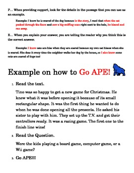 Go APE! Strategy to answer short answer response questions