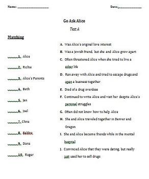 Go Ask Alice Complete Novel Unit Plan