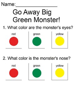 image about Go Away Big Green Monster Printable Book called Functions For Move Absent Huge Inexperienced Monster Worksheets TpT