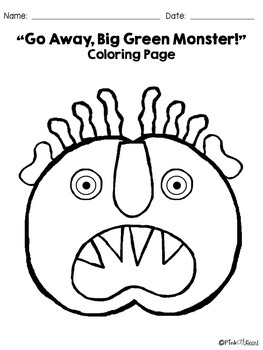 Green Monster Coloring Pages by Pink at Heart TpT