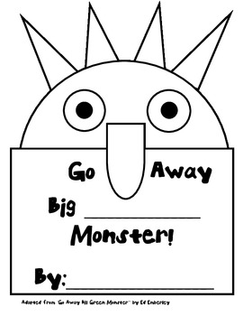 """Go Away Big Green Monster - Make your own """"die cut"""" book"""