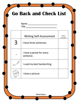 Go Back and Check Lists: Self-Editing Rubrics for Beginning Writers