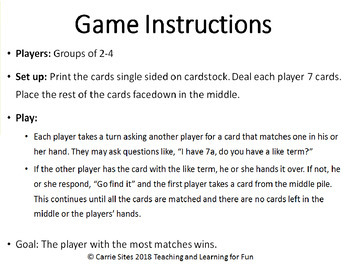 Go Find It! An Algebra Card Game