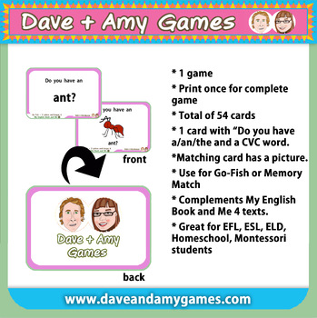 Go Fish/ Memory Match: CVC A (pictures and words)