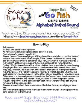 Go Fish (Happy Bats) Card Game: Alphabet Phonics, Initial Sounds w/ Real Photos