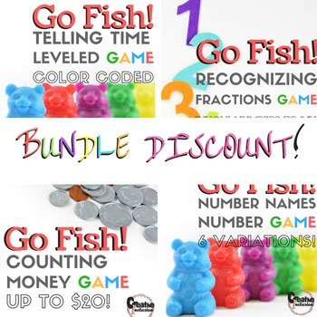 Math Go Fish Bundle! 4 math games in 1