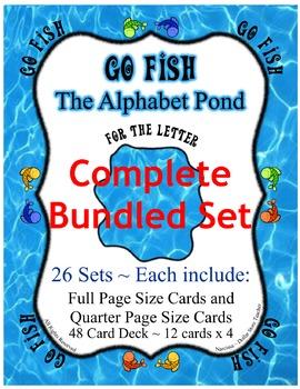Go Fish Bundled Card Game Set ~ Entire Alphabet ~ 26 letter Sets