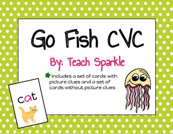 Go Fish CVC Version Short Vowels Word Work Game