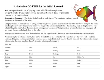 Go Fish Card Deck--28 Pairs for Initial R (Articulation Therapy)