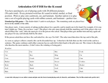 Go Fish Card Deck--28 Pairs for K (Articulation Therapy)
