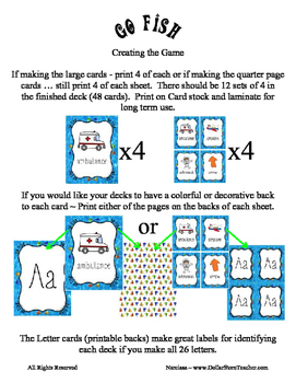 Go Fish Card Game for the Letter B  from the Alphabet Pond :)