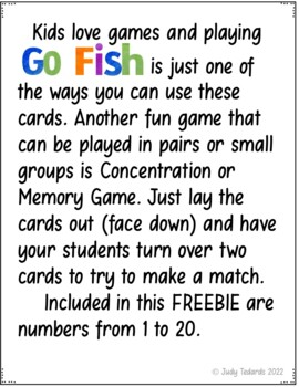 Go Fish Cards (Alphabet Letters and Numbers to 20)