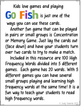 Go Fish Cards (Fry First Hundred High Frequency Cards)