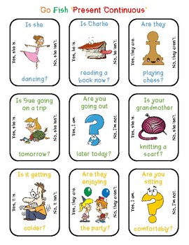 Go Fish Cards Present Continuous