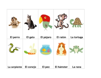 Go Fish Deck of Cards to Practice Pets in Spanish