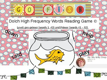 Go Fish Dolch High Frequency Words Reading Game