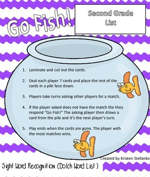 Go Fish! Dolch Second Grade List