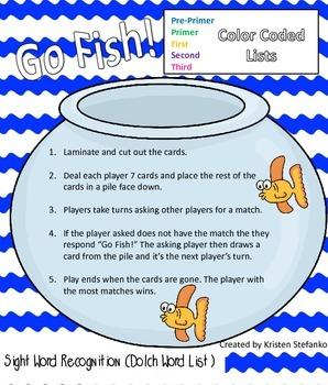Go Fish! Dolch Word List Bundle
