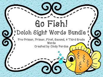 Go Fish Sight Words Bundle- Pre-Primer, Primer, First, Second, & Third Grade