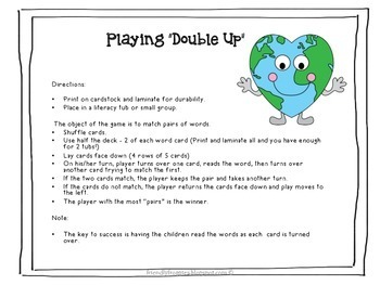 Literacy Center Game - Go Fish - Earth Day Themed Dolch Sight Word list 7
