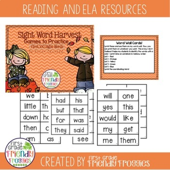Literacy Center Game - Fall Themed Dolch Sight Word Games