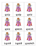 Go Fish Game- Closed Syllable Words with QU