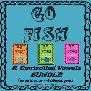 Go Fish Game - R-Controlled Vowels BUNDLE - (ar,er,ir,or,ur) - 6 different games