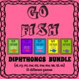 Go Fish - DIPHTHONGS BUNDLE (oi, oy, au, aw, ou, ow, ui, ew, ue, oo)  - 10 games