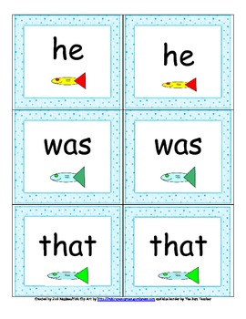 """Go Fish"" Game with Primer Dolch Words"