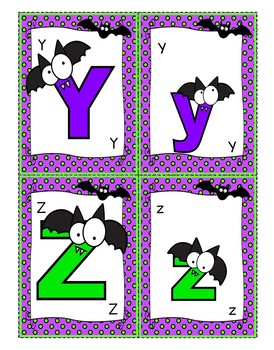 Go Fish (Happy Bats) Card Game: Alphabet Uppercase/ Lowercase Letter Recognition