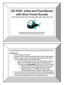Go Fish: Initial & Final Blends Game- Orton Gillingham Phonics/Reading/Spelling