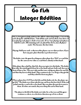 Go Fish - Integer Addition