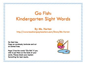 Go Fish: Kindergarten Sight Words