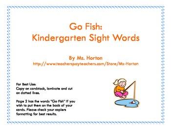 Go Fish: Kindergarten Sight Words